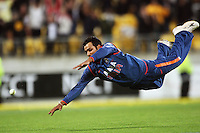 India's Rohit Sharma dives for and misses the ball as NZ win on the last ball during 2nd Twenty20 cricket match match between New Zealand Black Caps and West Indies at Westpac Stadium, Wellington, New Zealand on Friday, 27 February 2009. Photo: Dave Lintott / lintottphoto.co.nz
