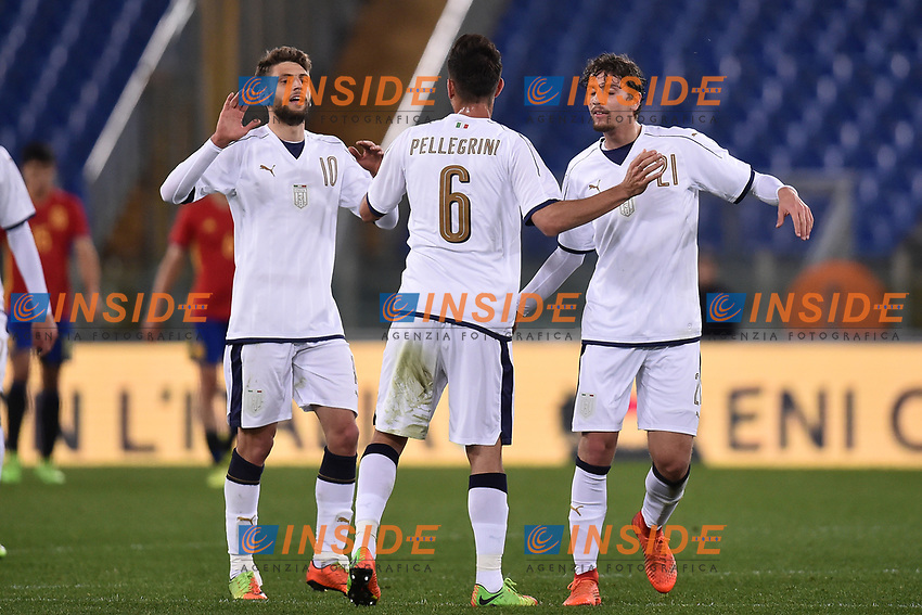 Esultanza gol Lorenzo Pellegrini, Domenico Berardi, Manuel Locatelli Italia goal celebration <br /> Roma 27-02-2017, Stadio Olimpico<br /> Football Friendly Match  <br /> Italy - Spain Under 21 Foto Andrea Staccioli Insidefoto