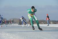 SCHAATSEN: EMMEN: Grote Rietplas, KPN NK Marathon Natuurijs, 08-02-2012, Arjan Stroetinga, ©foto: Martin de Jong
