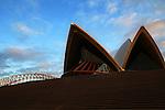 Sunrise on the forecourt of the Sydney Opera House on Sunday, September 20th 2015, Sydney, Australia.  (Photo: Steve Christo).