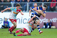 Francois Louw of Bath Rugby takes on the Harlequins defence. Aviva Premiership match, between Bath Rugby and Harlequins on February 18, 2017 at the Recreation Ground in Bath, England. Photo by: Patrick Khachfe / Onside Images