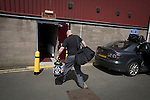The home team's kit arrives before East Stirlingshire took on Edinburgh City in the second leg of the Scottish League pyramid play-off at Ochilview Park, Stenhousemuir. The play-offs were introduced in 2015 with the winners of the Highland and Lowland Leagues playing-off for the chance to play the club which finished bottom of Scottish League 2. Edinburgh City won the match 1-0 giving them a 2-1 aggregate victory making them the first club in Scottish League history to be promoted into the league.