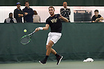 WINSTON-SALEM, NC - JANUARY 23: Wake Forest's Bar Botzer (ISR). The Wake Forest University Demon Deacons hosted Coastal Carolina University on January 23, 2018 at Wake Forest Tennis Complex in Winston-Salem, NC in a Division I College Men's Tennis match. Wake Forest won the match 6-1.