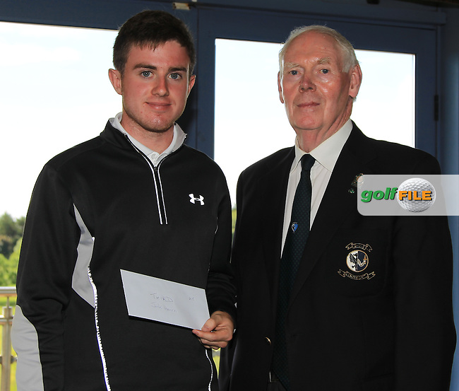 Jim McGovern (Chairman Connacht branch G.U.I) presents Jack Hearn (Tramore) with his prize during the Award ceremony of the 2016 Connacht U18 Boys Open, played at Galway Golf Club, Galway, Galway, Ireland. 07/07/2016. <br /> Picture: Thos Caffrey | Golffile<br /> <br /> All photos usage must carry mandatory copyright credit   (&copy; Golffile | Thos Caffrey)