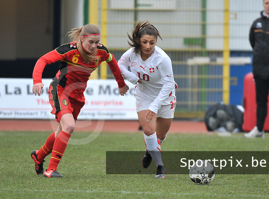 Belgium U19 - Switzerland U19 : duel between Julie Biesmans (links) and Mirjine Selimi (10).foto DAVID CATRY / Nikonpro.be