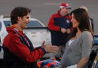 May 5, 2007; Richmond, VA, USA; Nascar Nextel Cup Series driver Jeff Gordon (24) with wife Ingrid Vandebosch prior to the Jim Stewart 400 at Richmond International Raceway. Mandatory Credit: Mark J. Rebilas
