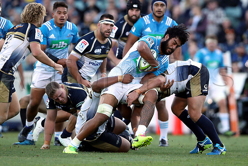 April 30th 2017,Canberra, Australia; Super Rugby Match; Brumbies versus Blues; Akira Ioane  tackled by Andrew Smith