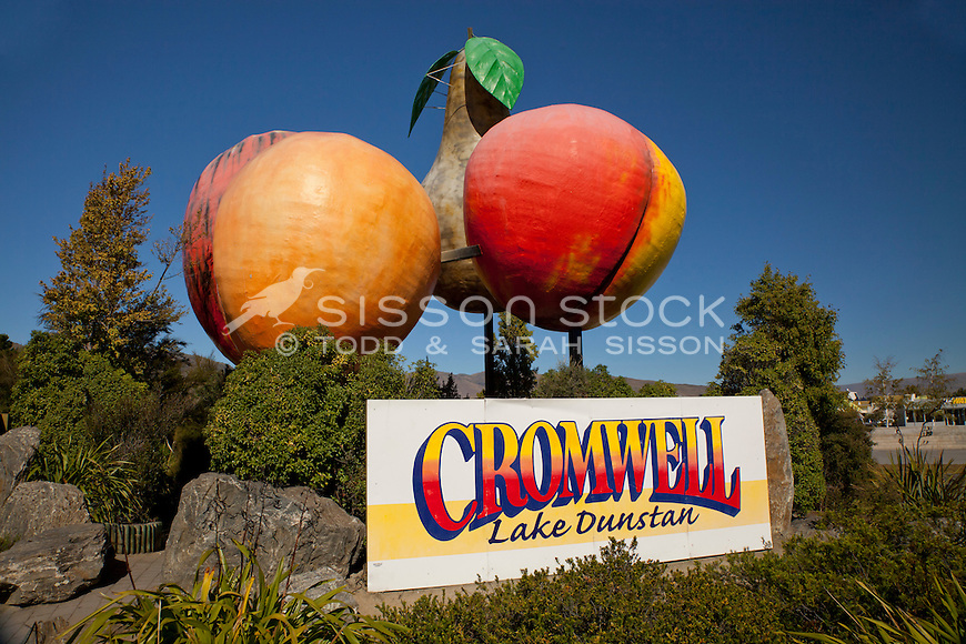 The iconic big fruit at the entrance to Cromwell Town, Central Otago