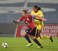 2018013 - LILLE , FRANCE : LOSC's Maud Coutereels (L) and PSG's Marie Laure Delie (R) pictured during the women soccer game between the women teams of Lille OSC and Paris Saint Germain  during the 13 th matchday for the Championship D1 Feminines at stade Lille Metropole , Saturday 13th of January ,  PHOTO Dirk Vuylsteke | Sportpix.Be