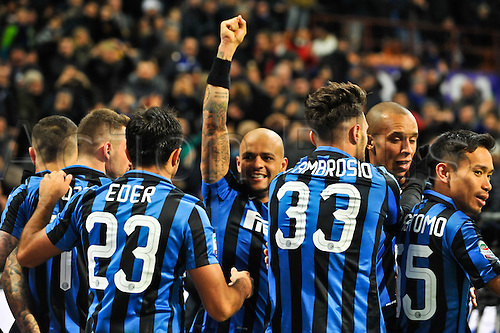 20.02.2016. Milan, Italy.  Felipe Melo (C) of FC Inter celebrate their second goal during the Italian Serie A League soccer match between Inter Milan and UC Sampdoria at San Siro Stadium in Milan, Italy.