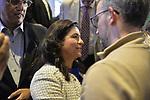 Garden City, New York, USA. November 6, 2018. Nassau County Democrats watch Election Day results at Garden City Hotel, Long Island. Newly elected New York State Senator ANNA KAPLAN, NYS Senate SD 7 attended.