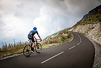 Michael Gogl (AUT/NTT) up the finish climb & the highest peak of the 2020 #TdF: the Col de la Loze (HC/2304m/21,5km @7,8%)<br /> <br /> Stage 17 from Grenoble to Méribel - Col de la Loze (170km)<br /> <br /> 107th Tour de France 2020 (2.UWT)<br /> (the 'postponed edition' held in september)<br /> <br /> ©kramon