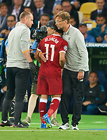 Mohamed SALAH, Liverpool 11 and,  Juergen KLOPP, Trainer Liverpool REAL MADRID - FC LIVERPOOL<br /> Football UEFA Champions League, Finale, Kiew, Ukraine, May 26, 2018<br /> CL Season 2017 2018<br />  <br />  *** Local Caption *** © pixathlon<br /> Contact: +49-40-22 63 02 60 , info@pixathlon.de