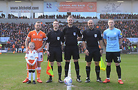 Blackpool's Jay Spearing and match day mascot and Southend United's Sam Mantom line up with referee Christopher Sarginson, assistants Anthony Moore and Nik Barnard<br /> <br /> Photographer Kevin Barnes/CameraSport<br /> <br /> The EFL Sky Bet League One - Blackpool v Southend United - Saturday 9th March 2019 - Bloomfield Road - Blackpool<br /> <br /> World Copyright © 2019 CameraSport. All rights reserved. 43 Linden Ave. Countesthorpe. Leicester. England. LE8 5PG - Tel: +44 (0) 116 277 4147 - admin@camerasport.com - www.camerasport.com