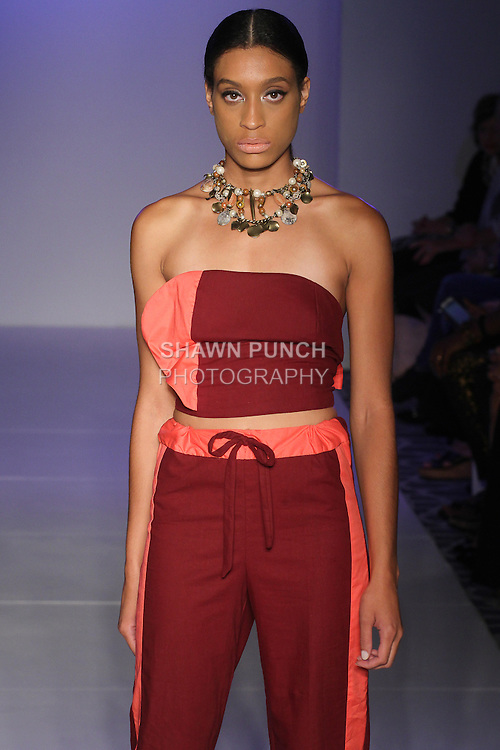 Model walks runway in an outfit Amril Douglas Spring Summer 2016 collection, at the Designer's Collective Spring 2016 fashion show for Fashion Gallery NYFW, during New York Fashion Week Spring 2016.