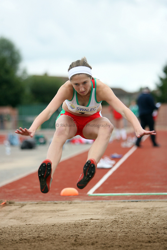 Photo: Rich Eaton...Schools International Athletic Board, Track & Field International Match, Newport. 21/07/2007. Sarah Dacey of Wales competes in the girls long jump.