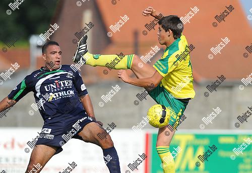 2013-07-14 / Voetbal / seizoen 2013-2014 / Witgoor Dessel - Lommel / Pieter Engelen (Witgoor) heft het been wel erg hoog<br /><br />Foto: Mpics.be