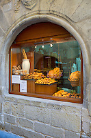 Food shop selling artisan bread and cakes in Calle Major in town of Laguardia, Rioja-Alavesa, Basque country, Spain