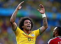 Marcelo of Brazil urges the fans to get behind their team