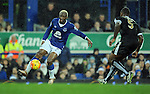Arouna Kone of Everton is challenged by Wes Morgan of Leicester City <br /> - Barclays Premier League - Everton vs Leicester City - Goodison Park - Liverpool - England - 19th December 2015 - Pic Robin Parker/Sportimage