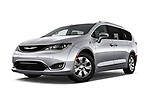 Stock pictures of low aggressive front three quarter view of 2017 Chrysler Pacifica-Hybrid Platinum 5 Door Minivan Low Aggressive