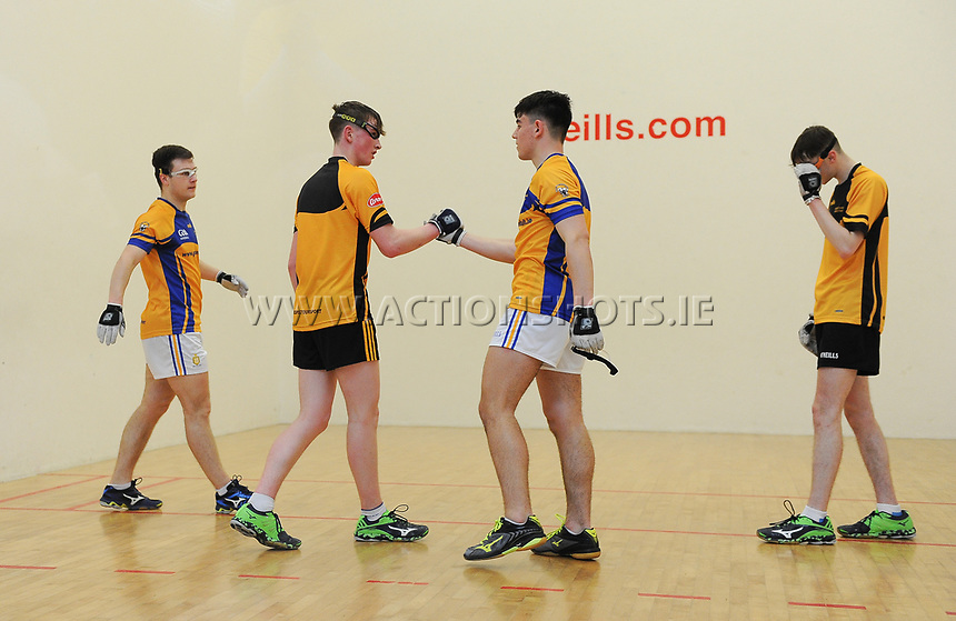 07/04/2018; GAA Handball O&rsquo;Neills 40x20 Championship Final Boys Minor Doubles Clare (Tiarnan Agnew/Mark Rodgers) v Kilkenny (Padraig Foley/Eoin Brennan); Kingscourt, Co Cavan;<br /> Eoin Brennan and Mark Rodgers shake hands after the game.<br /> Photo Credit: actionshots.ie/Tommy Grealy