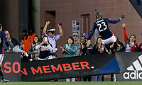 Foxborough, Massachusetts - September 2, 2017: In a Major League Soccer (MLS) match, New England Revolution (blue/white) defeated Orlando City SC (white), 4-0, at Gillette Stadium.Goal celebration.