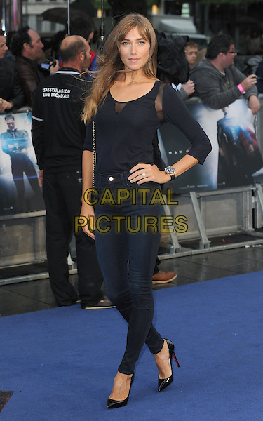 Jacqui Ainsley <br /> 'Man Of Steel' UK film premiere, Empire cinema, Leicester Square, London, England.<br /> 12th June 2013<br /> full length black top jeans denim hand on hip <br /> CAP/BEL<br /> &copy;Tom Belcher/Capital Pictures