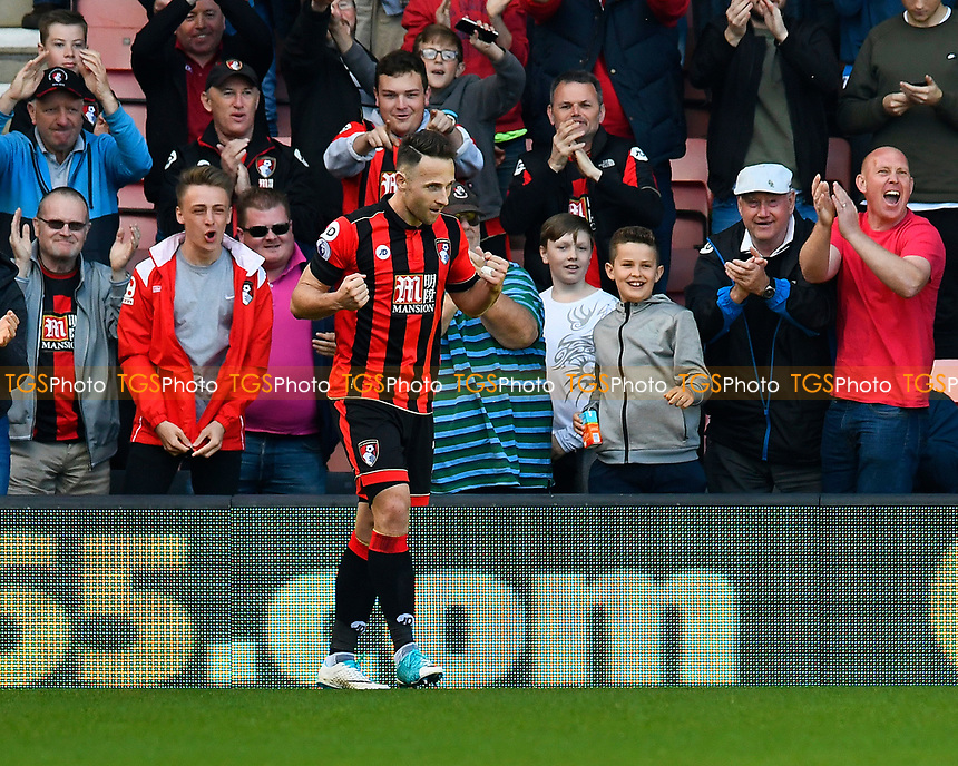 Marc Pugh of AFC Bournemouth celebrates after scoring the third goal during AFC Bournemouth vs Middlesbrough, Premier League Football at the Vitality Stadium on 22nd April 2017