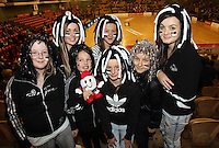 09.06.2011 Silver Ferns fans in action during the netball match between the Silver Ferns and Australia held at Arena Manuwau in Palmerston North. Mandatory Photo Credit ©Michael Bradley.
