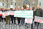 Declan O'Connell, Kevin Griffin, Pat Scannell, Michael F. O'Connor, Dan  Sheehy, Tony Carmody, George Kelly at the South Kerry Development Partnership  Alignment Protest Meeting outside of the Kerry County Council Monthly Meeting on Monday