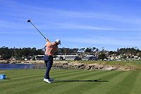 Patrick Cantlay (USA) tees off the 18th tee at Pebble Beach course during Friday's Round 2 of the 2018 AT&amp;T Pebble Beach Pro-Am, held over 3 courses Pebble Beach, Spyglass Hill and Monterey, California, USA. 9th February 2018.<br /> Picture: Eoin Clarke | Golffile<br /> <br /> <br /> All photos usage must carry mandatory copyright credit (&copy; Golffile | Eoin Clarke)