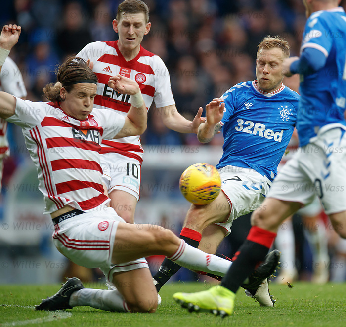 06.10.2019 Rangers v Hamilton: Scott Arfield with Markus Fjortoft and Blair Alston