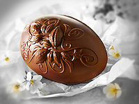 Traditional chocolate decorated Easter Eggs
