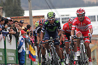 TUNJA - COLOMBIA- 21- 02-2016: Rodolfo Torres, Nairo Quintana durante la prueba ruta categoría Elite hombres con recorrido entre las ciudades de Sogamoso y Tunja en una distancia 174,6 km kilometros de Los Campeonato Nacionales de Ciclismo 2016, que se realizan en Boyaca. / Rodolfo Torres, Bairo Quintana and during the Elite test individual route men conducted  between the towns of Sogamoso and Tunja at a distance of 174,6 km of the National Cycling Championships 2016 performed in Boyaca. / Photo: VizzorImage / Cesar Melgarejo / Cont.