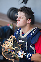 Chris Okey (25) of the US Collegiate National Team prepares for the game against the Cuban National Team at BB&T BallPark on July 4, 2015 in Charlotte, North Carolina.  The United State Collegiate National Team defeated the Cuban National Team 11-1.  (Brian Westerholt/Four Seam Images)