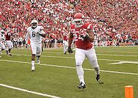 NWA Democrat-Gazette/MICHAEL WOODS • @NWAMICHAELW<br /> University of Arkansas running back Kody Walker scores a touchdown during the 3rd overtime period of Saturdays game at Razorback Stadium in Fayetteville.