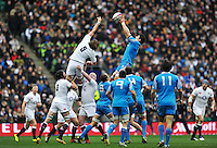 Alessandro Zanni wins lineout ball for Italy. RBS Six Nations match between England and Italy on March 10, 2013 at Twickenham Stadium in London, England. Photo by: Patrick Khachfe / Onside Images