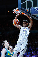 July 14, 2016: MATISSE THYBULLE (4) of the Washington Huskies dunks the ball during game 2 of the Australian Boomers Farewell Series between the Australian Boomers and the American PAC-12 All-Stars at Hisense Arena in Melbourne, Australia. Sydney Low/AsteriskImages.com