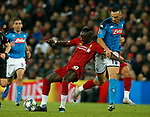 Sadio Mane of Liverpool tackled by Nikola Maksimovic of Napoli  during the UEFA Champions League match at Anfield, Liverpool. Picture date: 27th November 2019. Picture credit should read: Andrew Yates/Sportimage
