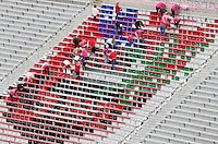 Colored placards were placed in the Block O section of Ohio Stadium to form a picture of the state of Ohio before Saturday's NCAA Division I football game between the Ohio State Buckeyes and the Rutgers Scarlet Knights at Ohio Stadium in Columbus on Saturday, Oct. 18, 2014. (Dispatch Photo by Barbara J. Perenic)