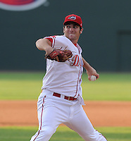Pitcher Kevin Brahney (19) of the Greenville Drive in a game against the Augusta GreenJackets on August 22, 2012, at Fluor Field at the West End in Greenville, South Carolina. Greenville won, 5-2. (Tom Priddy/Four Seam Images)