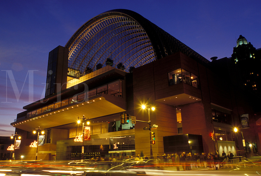 Philadelphia, PA, Pennsylvania, The Kimmel Center for the Performing Arts along Broad Street in downtown Philadelphia in the evening.