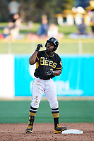 Eric Young Jr. (8) of the Salt Lake Bees during the game against the  New Orleans Baby Cakes at Smith's Ballpark on June 8, 2018 in Salt Lake City, Utah. Salt Lake defeated New Orleans 4-0.  (Stephen Smith/Four Seam Images)