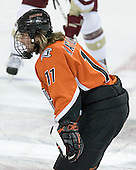 Jonathan Matsumoto 11 of Bowling Green waits for the face-off. The Eagles of Boston College defeated the Falcons of Bowling Green State University 5-1 on Saturday, October 21, 2006, at Kelley Rink of Conte Forum in Chestnut Hill, Massachusetts.<br />