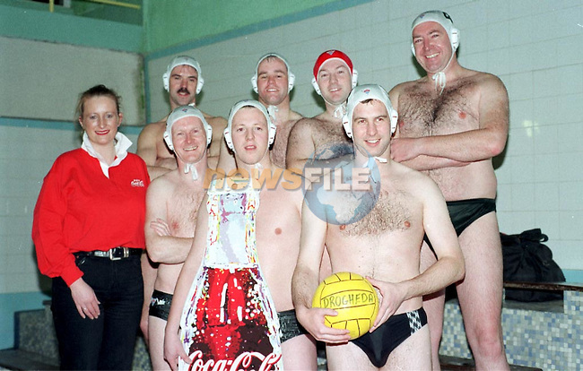 Michelle Kinsella with the Members of the Drogheda Water polo team pictures in Gormanstown College.Pic Fran Caffrey newsfile