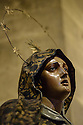 London, UK. 04.05.2015. Head of Mary from the Mary & Jesus (Pieta) sculpture in the Se de Lisboa/ Lisbon Cathedral. Photograph © Jane Hobson