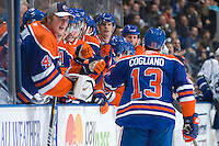 EDMONTON, CANADA - NOVEMBER 2:  Andrew Cogliano #13 of the Edmonton Oilers celebrates a second period goal against the Vancouver Canucks at Rexall Place on November 2, 2010 in Edmonton, Alberta, Canada.  (Photo by Andy Devlin/NHLI via Getty Images) *** LOCAL CAPTION *** Andrew Cogliano