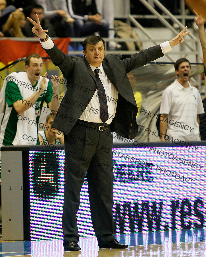 Lithuania's BC Zalgiris head coach Aco Petrovic, react, during a Euroleague basketball match in Belgrade, Serbia, Saturday, Nov. 25, 2010. (Srdjan Stevanovic/Starsportphoto.com)