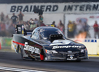 Aug 15, 2014; Brainerd, MN, USA; NHRA funny car driver Cruz Pedregon during qualifying for the Lucas Oil Nationals at Brainerd International Raceway. Mandatory Credit: Mark J. Rebilas-